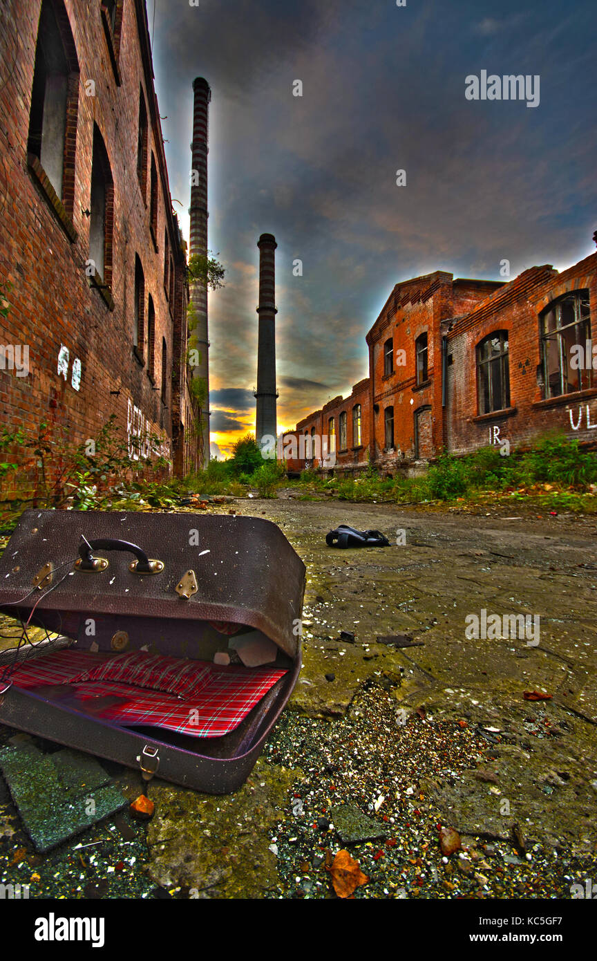 Ruined factory as post apocalypse scenery. After nuclear war concept - vivid color. - Stock Image