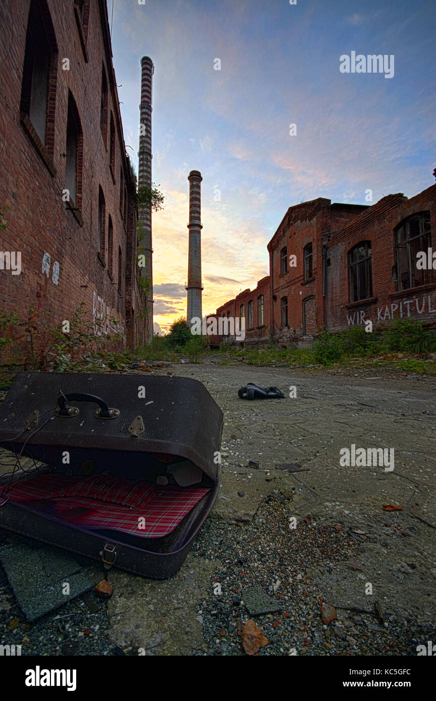 Ruined factory as post apocalypse scenery. After nuclear war concept. - Stock Image