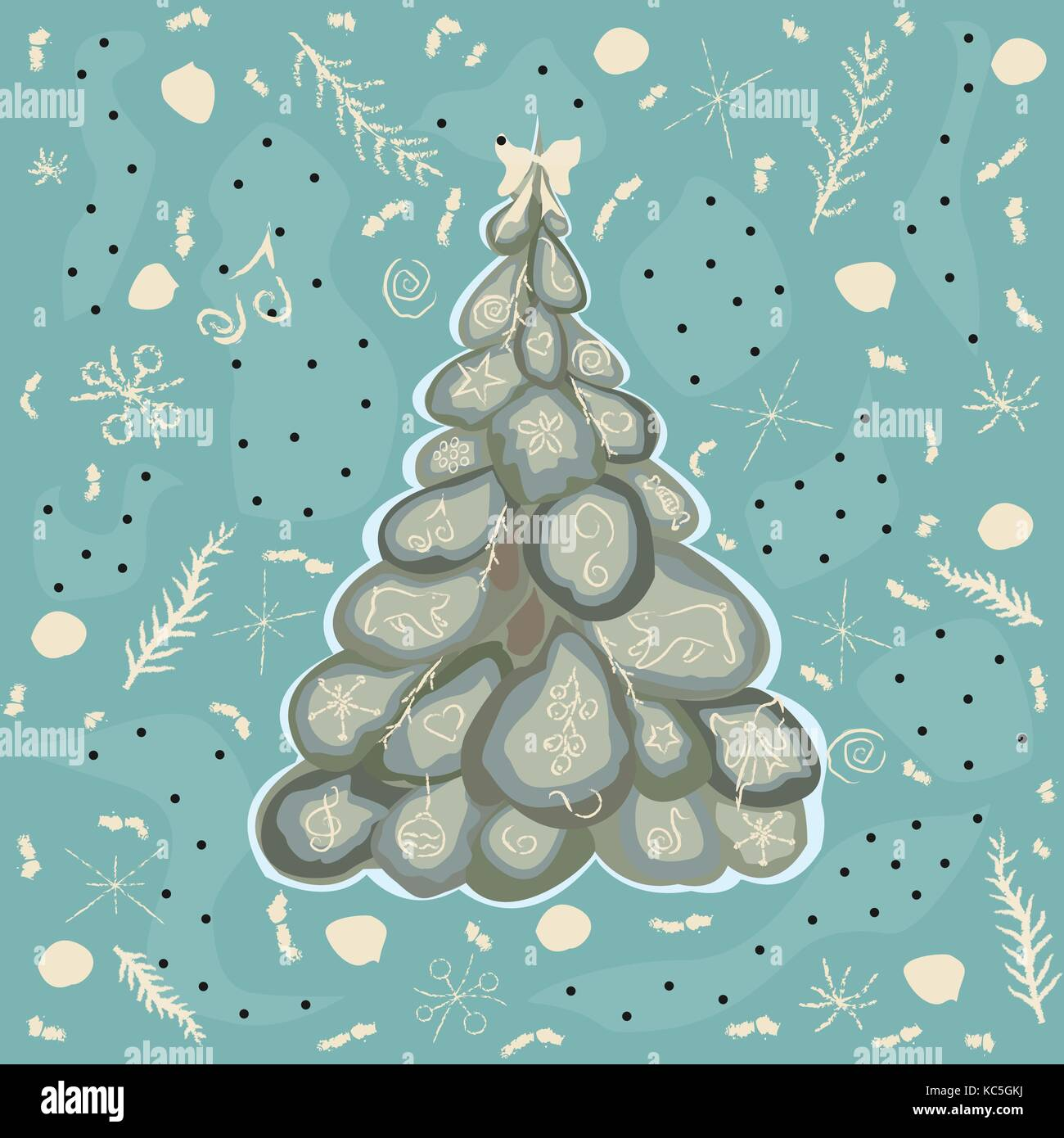 Winter Spruce Tree with winter elements and doodles. Vector Illustration. - Stock Vector