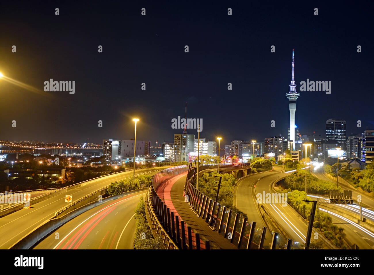 Auckland_City_Spaghetti_junction_by Night - Stock Image