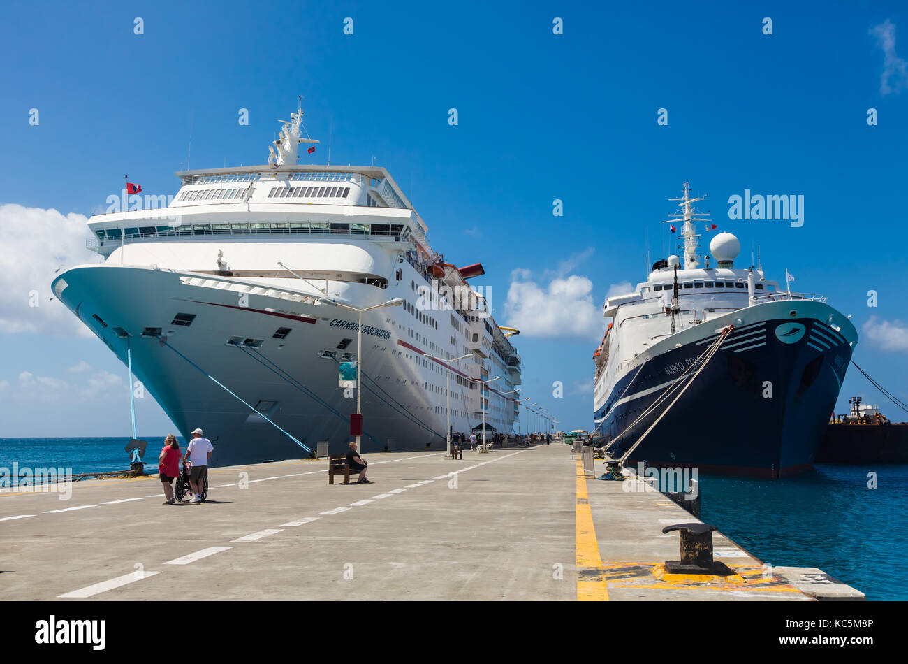Carnival Fascination & Marco Polo docked in Pilipsburg, St Maarten - Stock Image