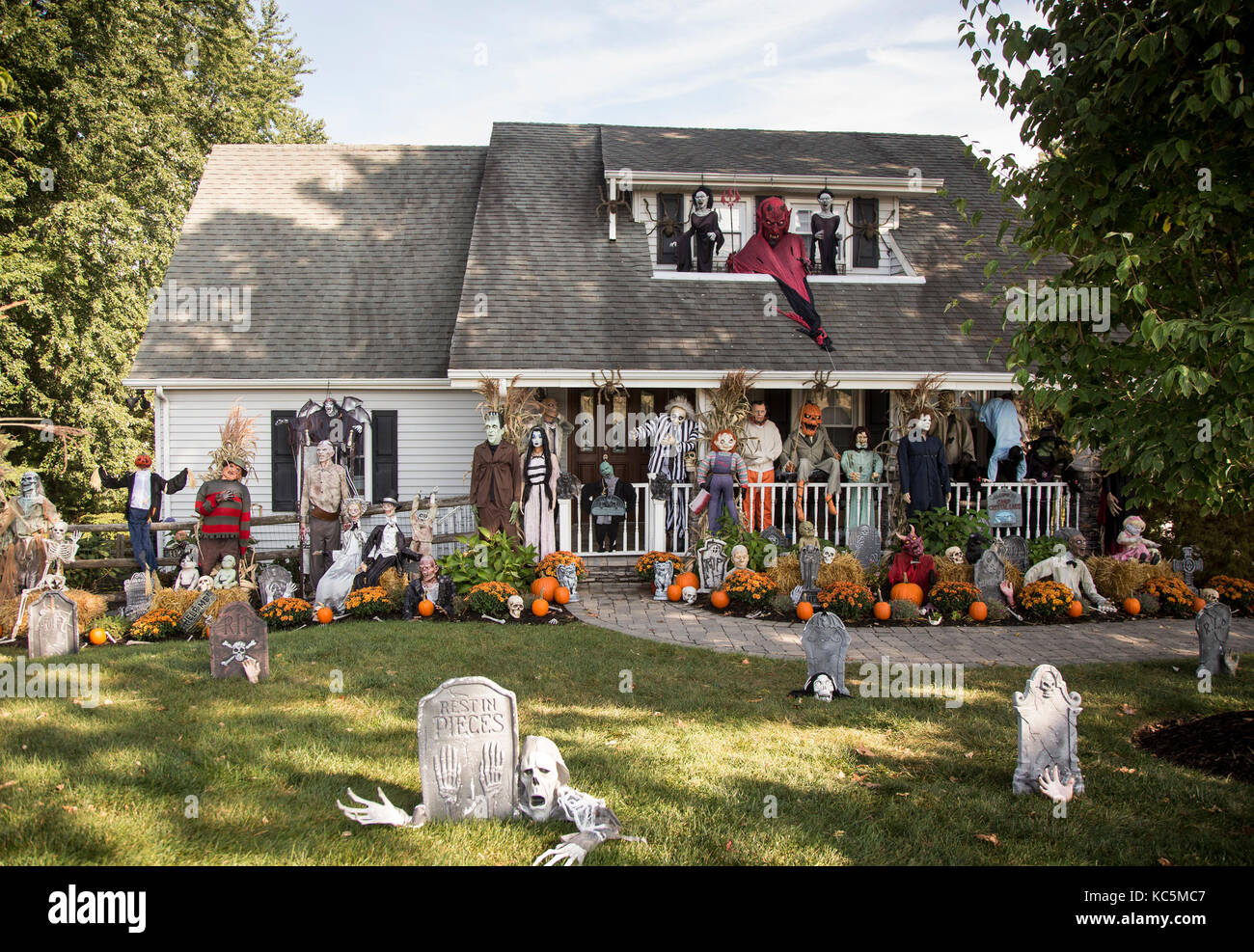 Halloween Decorations In Front Of A House In Ramsey New Jersey