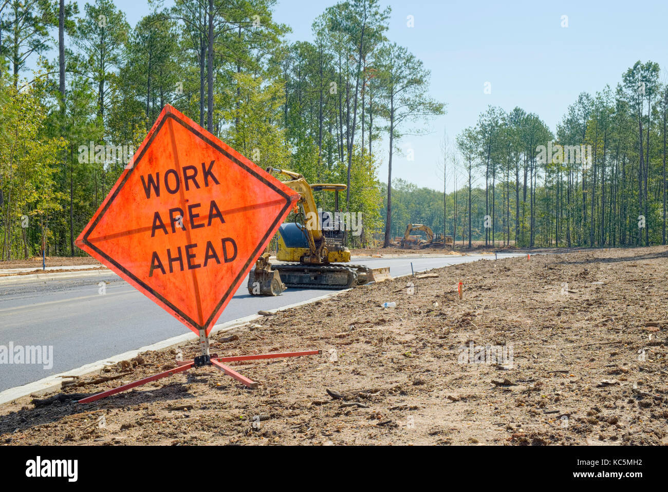 'Work Area Ahead' temporary sign warning of construction work at a new residential subdivision in Pike Road, - Stock Image