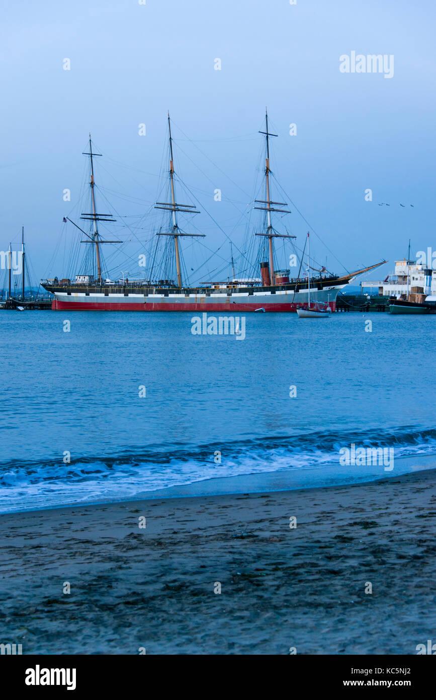 Balclutha ship on Hyde Street Pier, Maritime National Historic Park, San Francisco, California - Stock Image