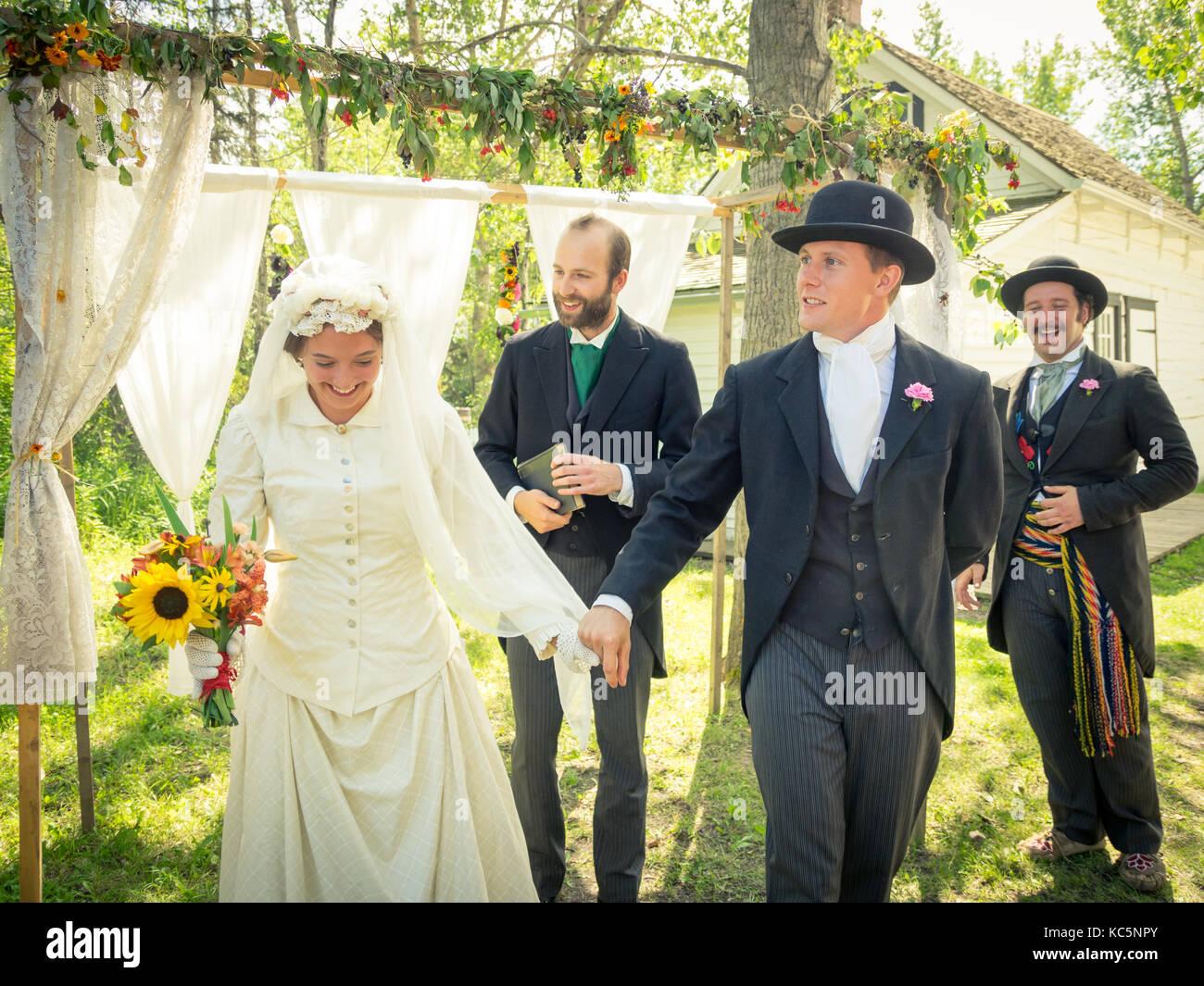 Wedding Ceremony Traditional.Period Actors Re Enact A Traditional 19th Century Metis Wedding