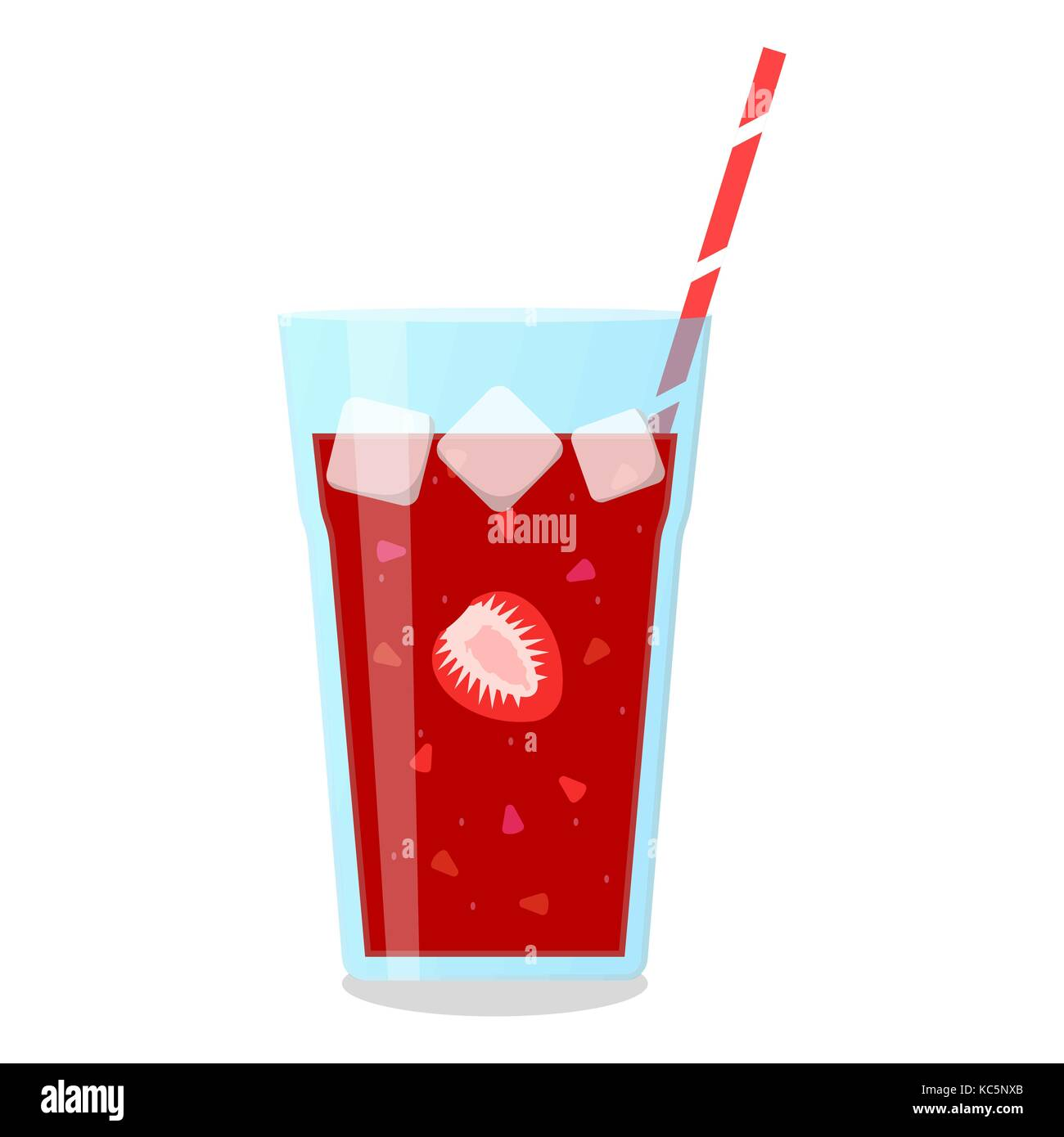 Strawberry and cherry mix smoothie in a glass jug. Stock Vector