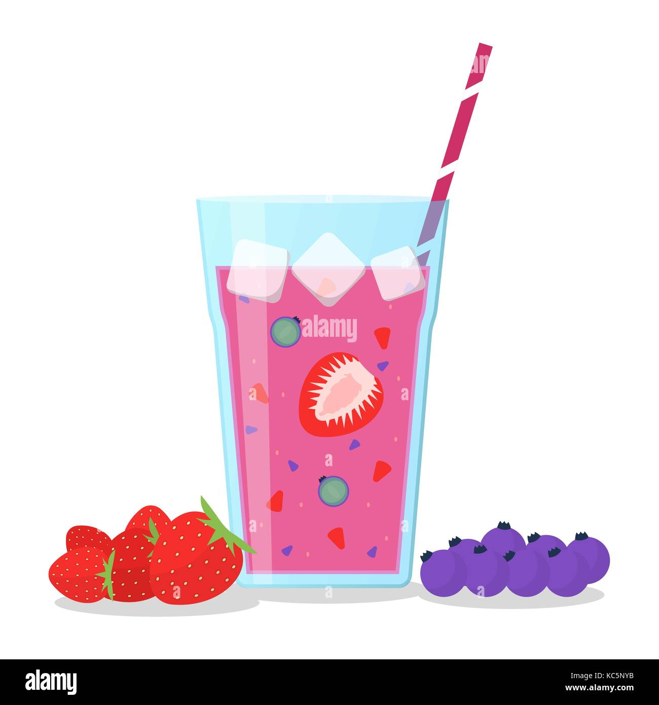 Berries mix smoothie vector illustration. Smoothie in a jug and a glass with a straw Wellness and healthy lifestyle. Stock Vector
