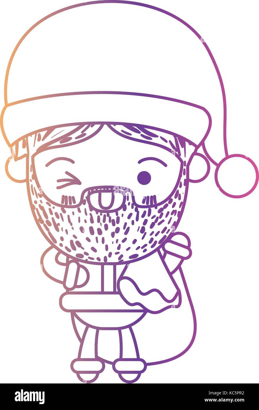 Santa Claus Cartoon Holding Gift Bag Face Expression Wink Eye On