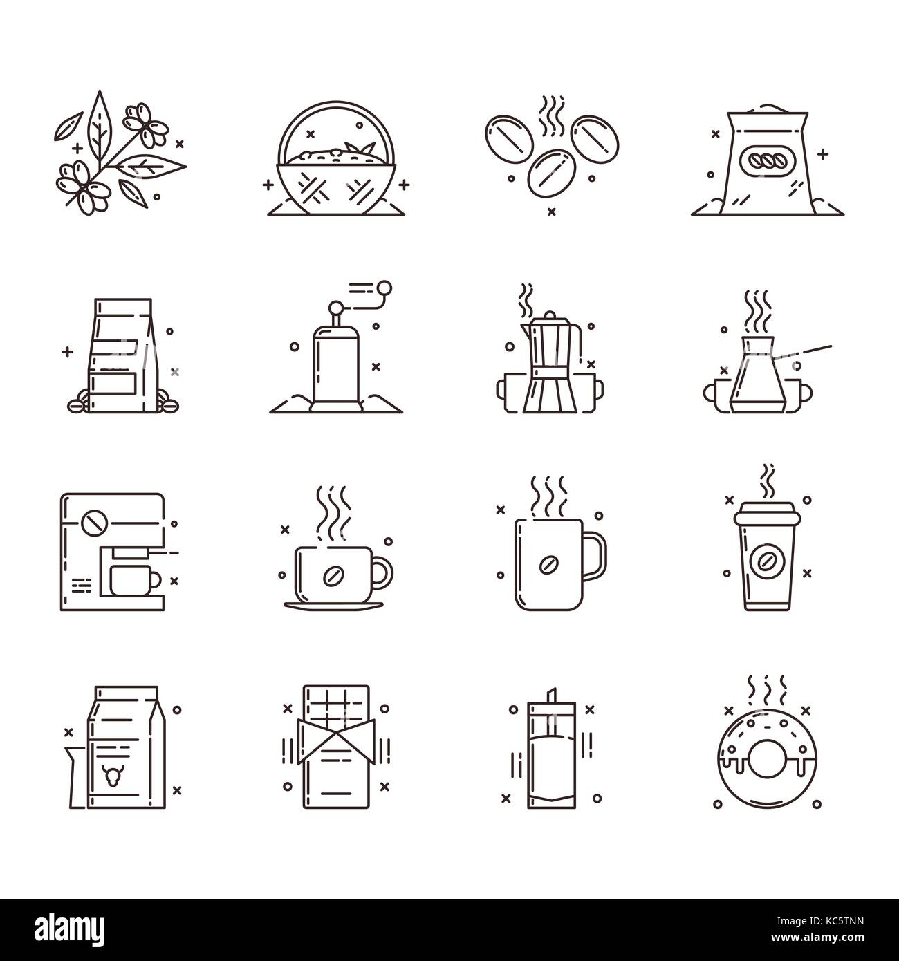 Vector icons set of the coffee production and use that includes gathering of coffee beans, sorting them out, storage - Stock Image