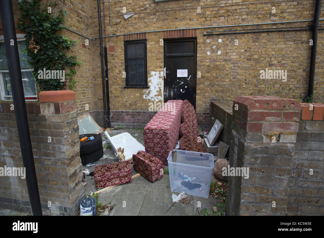 Fly tipping on a residential property, Marylebone, London, UK - Stock Image