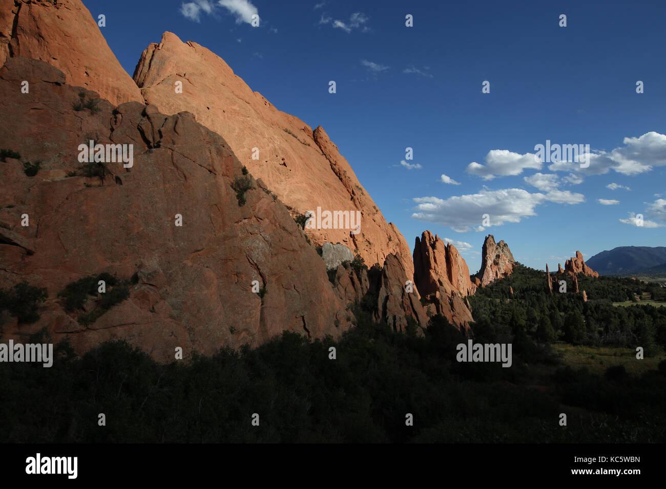 Garden of the Gods, a national landmark and a city park in Colorado Springs, Colorado. - Stock Image
