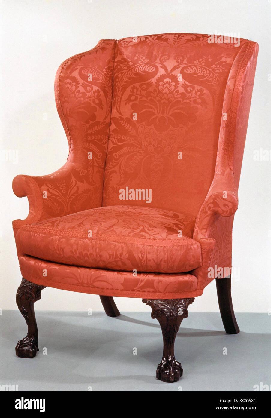 Easy Chair, 1760–90, Made in Philadelphia, Pennsylvania, United States, American, Mahogany, walnut, tulip poplar, - Stock Image