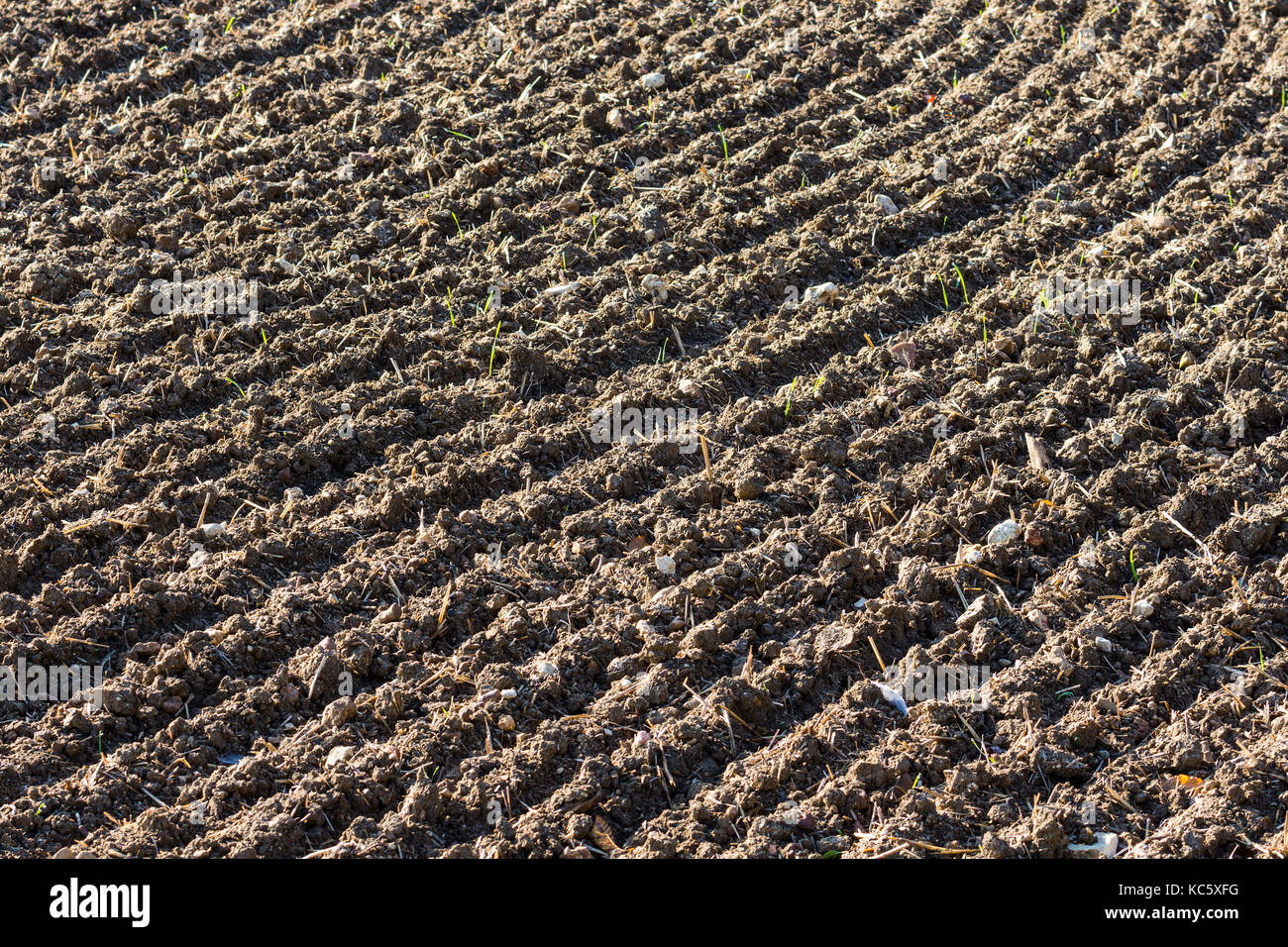 Tilled farmland, France. - Stock Image