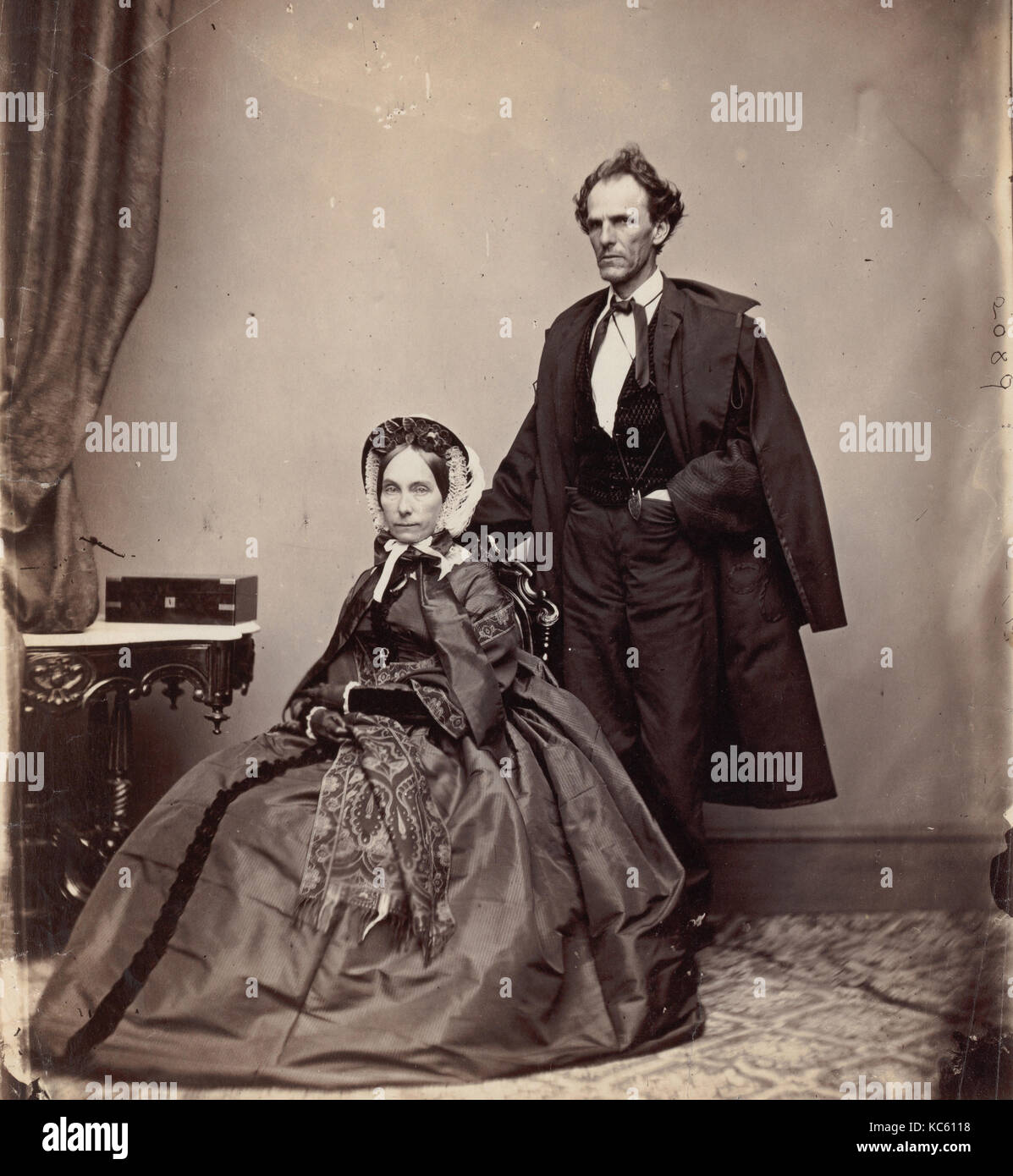 Senator and Mrs. James Henry Lane, 1861–66, Albumen silver print from glass negative, 22.8 × 19.7 cm (9 × - Stock Image