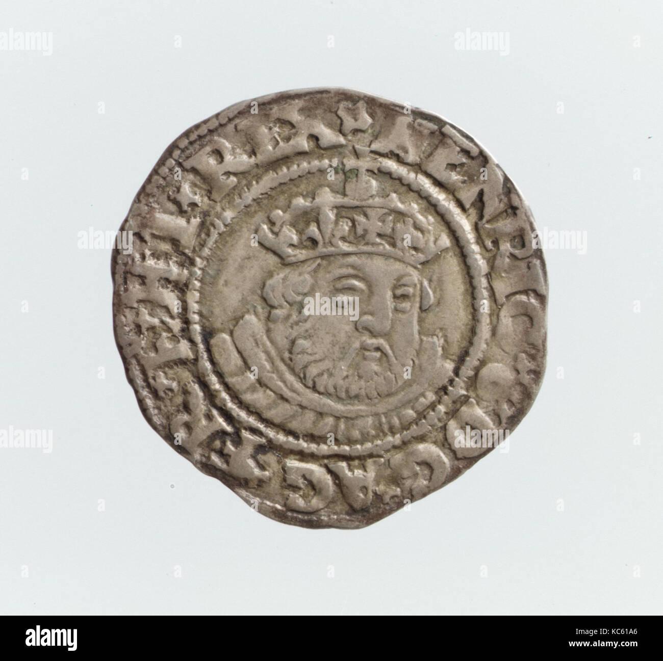 Half groat of Henry VIII (r. 1509–47), 1544–47, British, Silver, Diameter: 19 mm, Coins - Stock Image