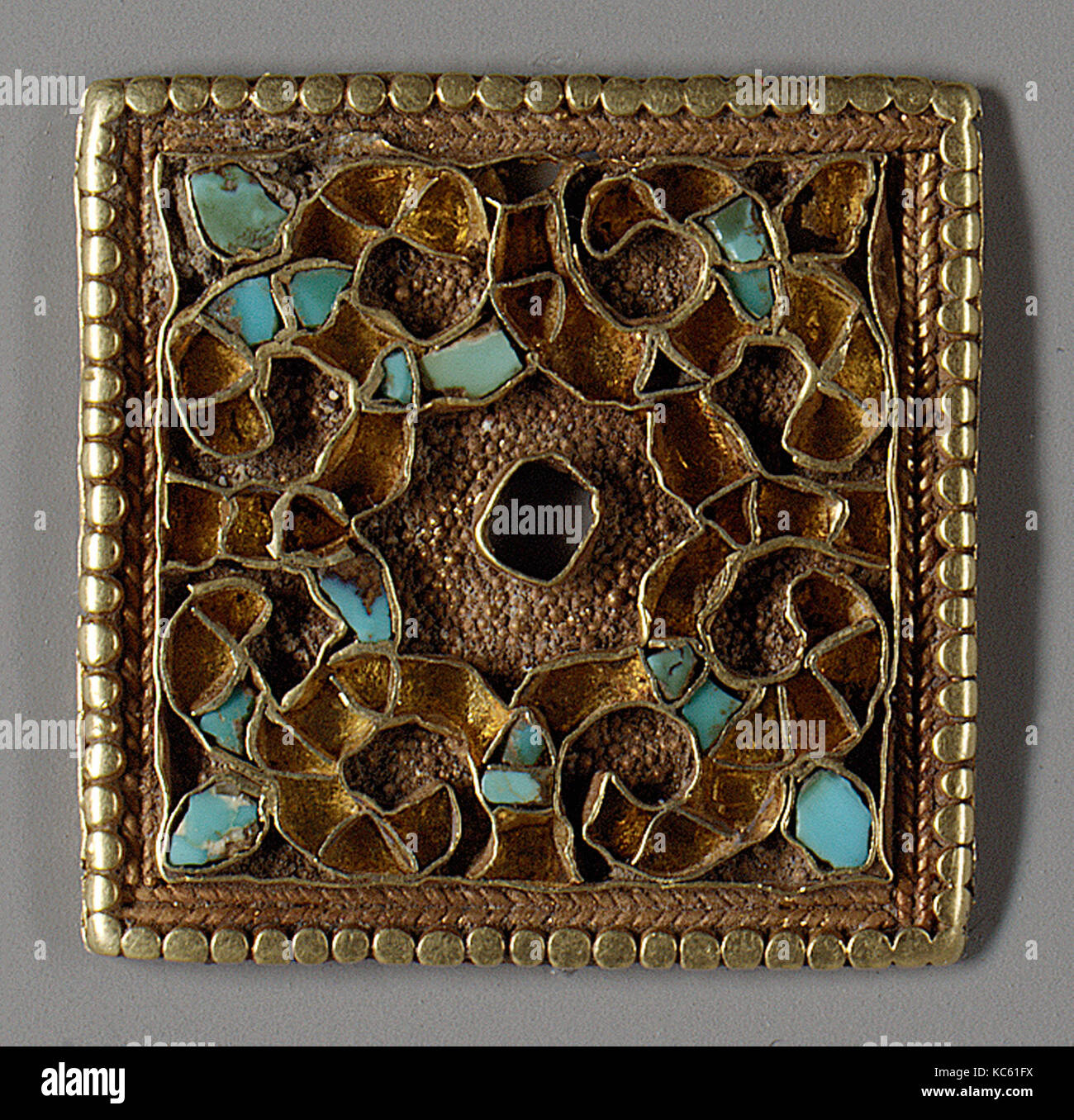 Ornamented Plaques, 7th–9th century, Eastern Central Asia or northern China, Gold with turquoise inlay, Square plaque - Stock Image