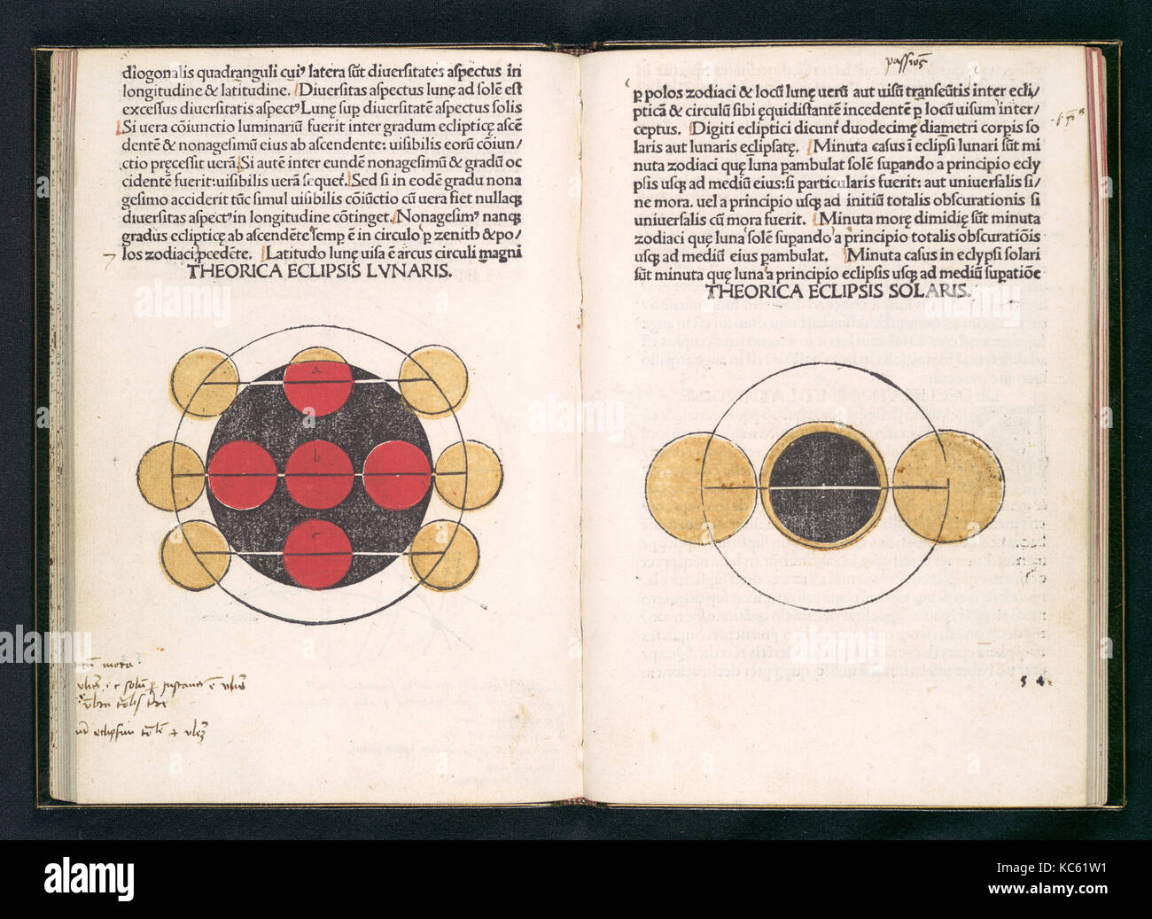 Sphaera Mundi, 1485, Printed book with woodcut illustrations printed or colored with stencils in one, two, and three - Stock Image