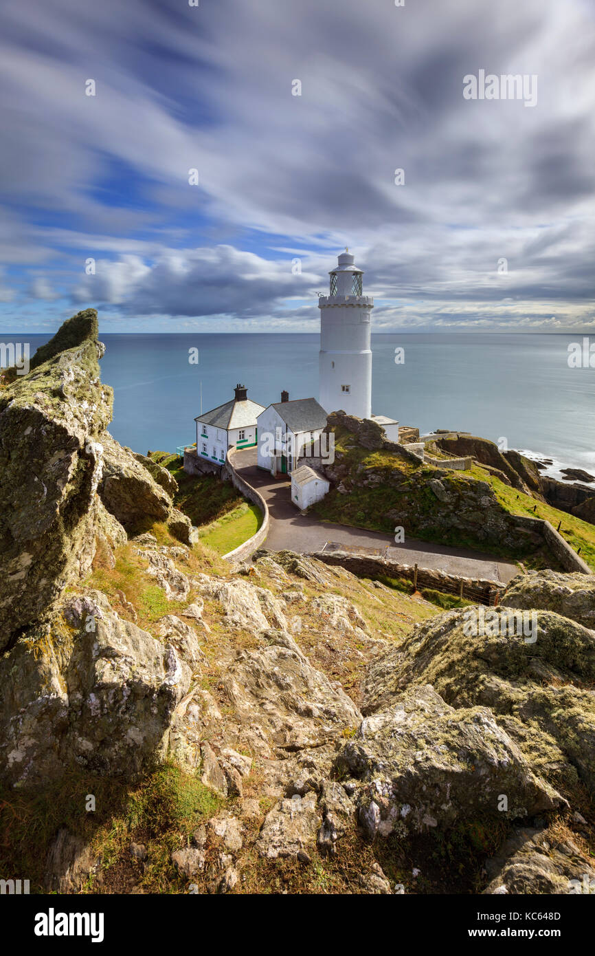 Start Point Lighthouse in South Devon. - Stock Image