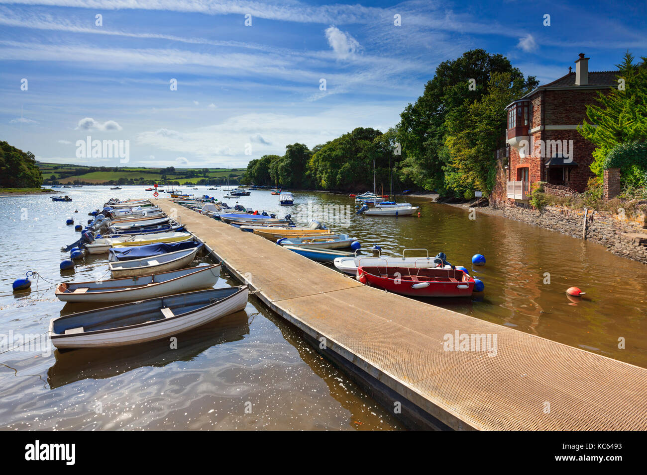 Boats at Stoke Gabriel on the River Dart in South Devon. - Stock Image