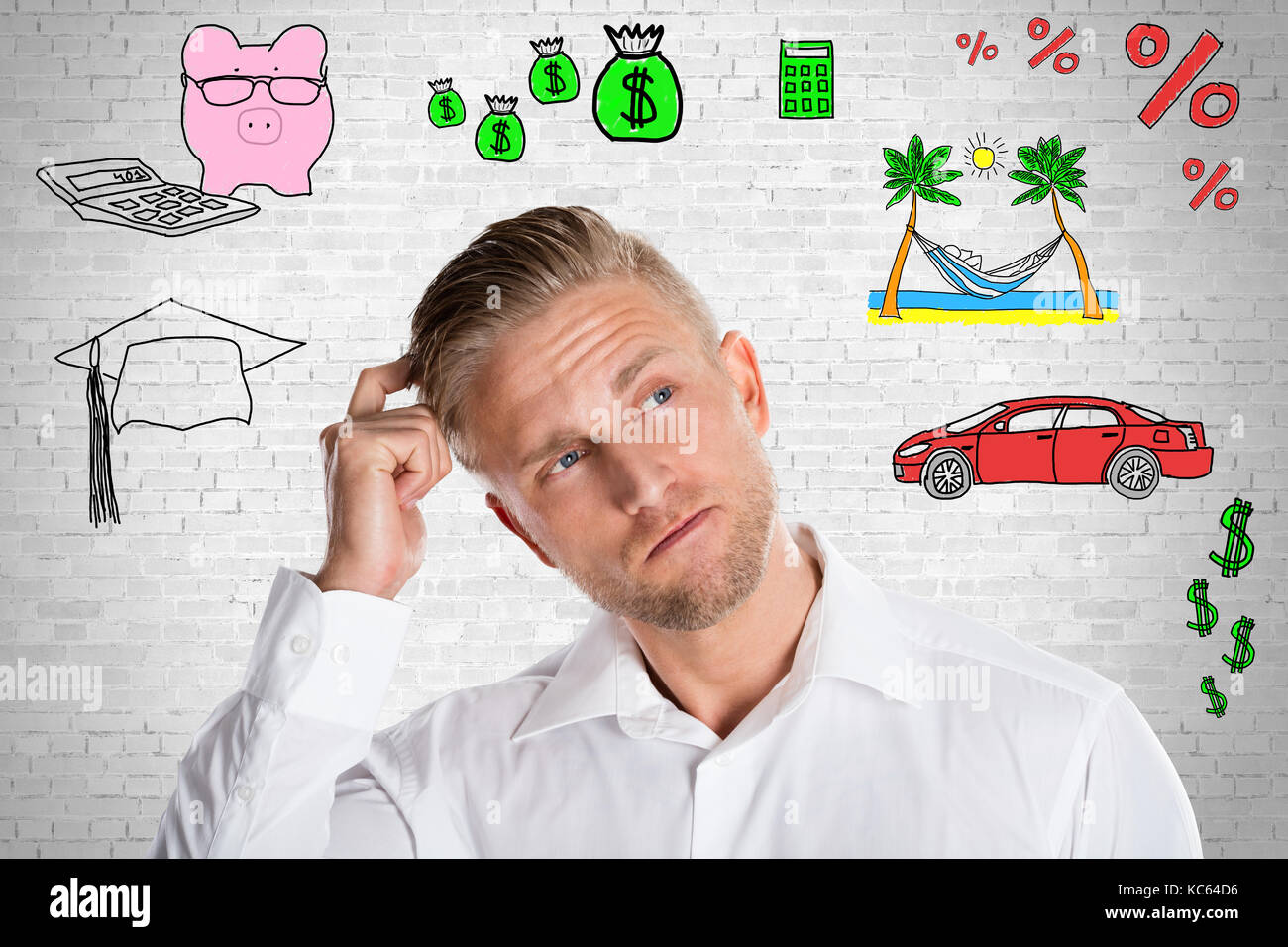 Contemplated Business Man Thinking About Future Against Brick Wall - Stock Image