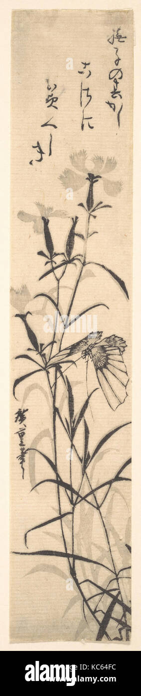Black and White Print of Butterfly and Flower (a Pink), Utagawa Hiroshige - Stock Image