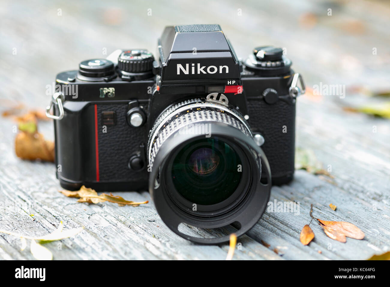 Nikon F3 single lens reflex 35mm professional film camera, First launched in 1980 and remained in production until - Stock Image