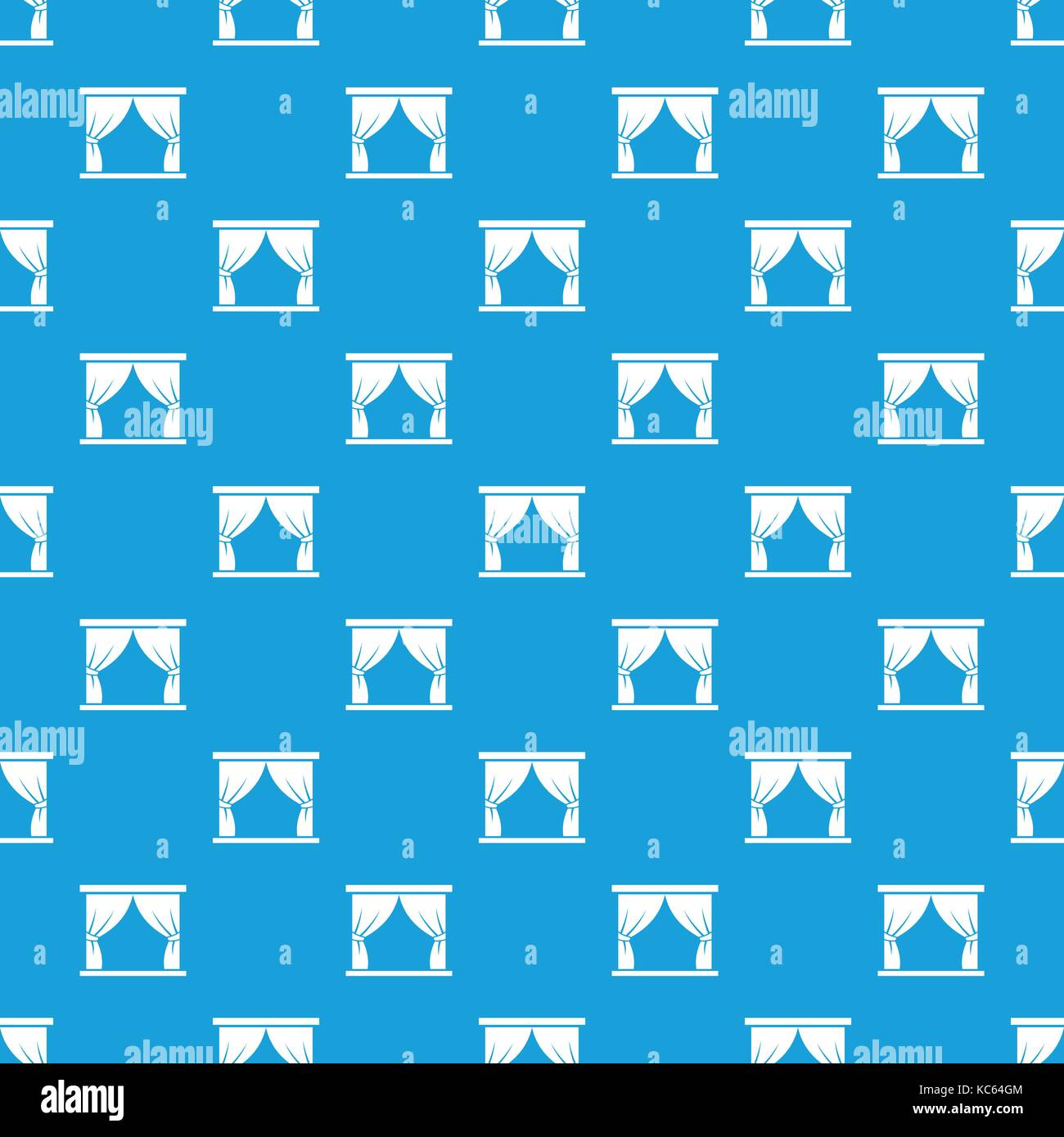 Curtain on stage pattern seamless blue - Stock Vector