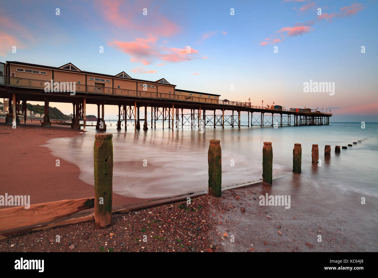 Teignmouth Pier at Sunset - Stock Image
