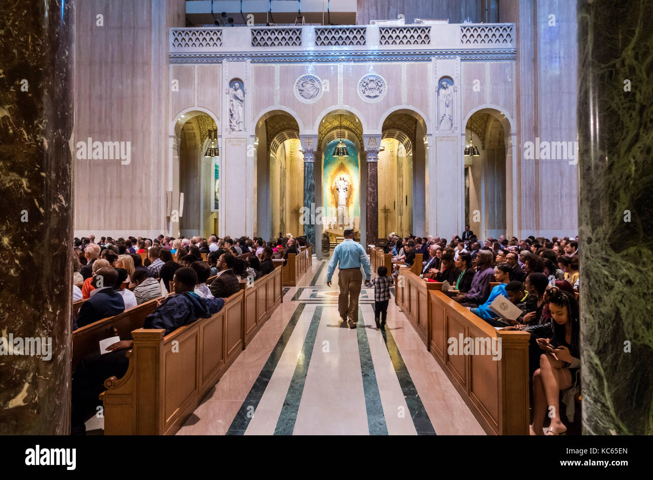 Washington DC District of Columbia Basilica of the National Shrine of the Immaculate Conception Catholic church Stock Photo