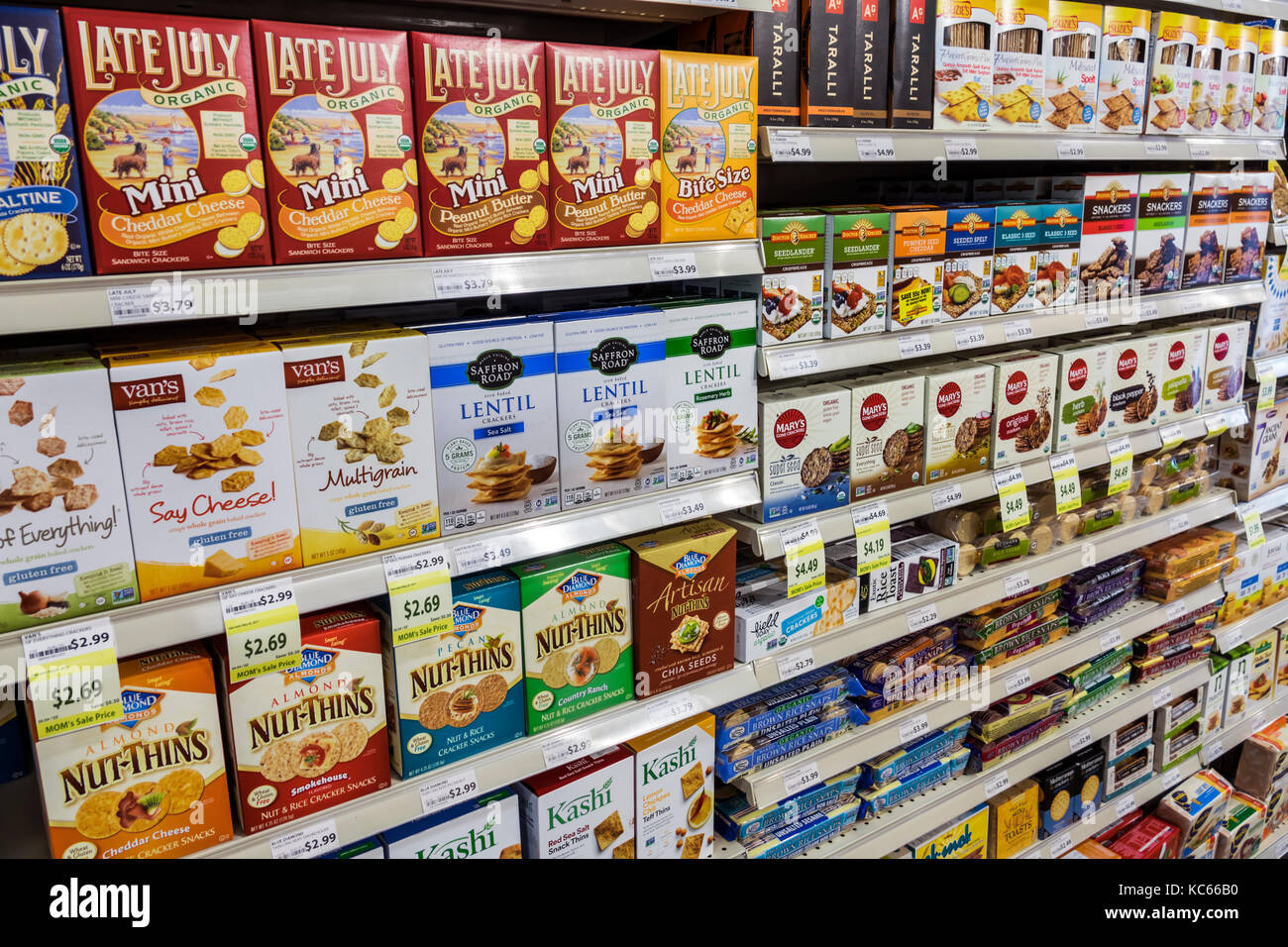 Washington DC District of Columbia MOM's Organic Market grocery store supermarket shopping display shelves crackers - Stock Image