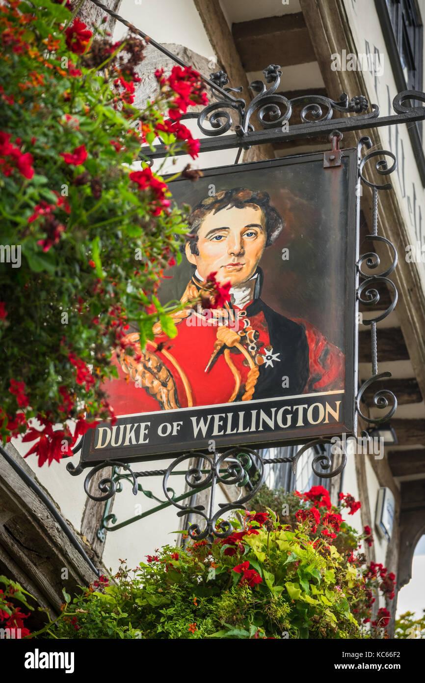 The Duke of Wellington pub sign in Southampton, England, UK - Stock Image