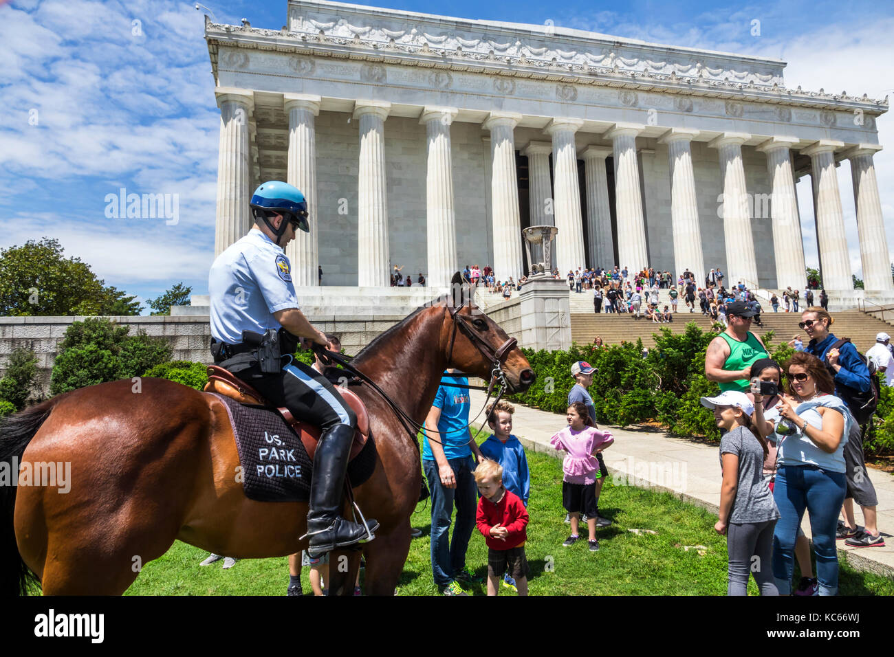 Washington DC District of Columbia National Mall Lincoln Memorial monument Park Police Horse Mounted Unit boy family Stock Photo