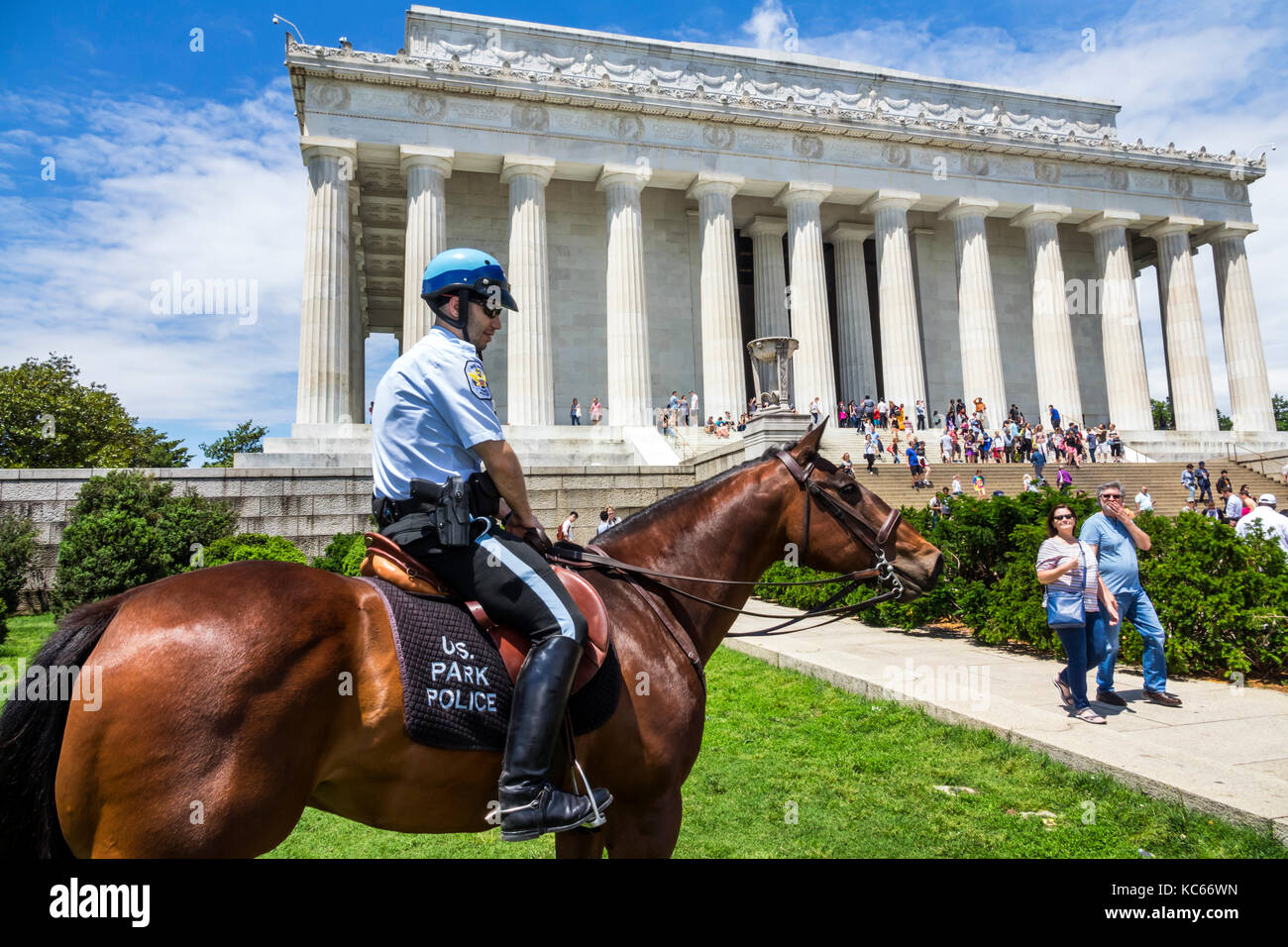Washington DC District of Columbia National Mall Lincoln Memorial monument Park Police Horse Mounted Unit Stock Photo