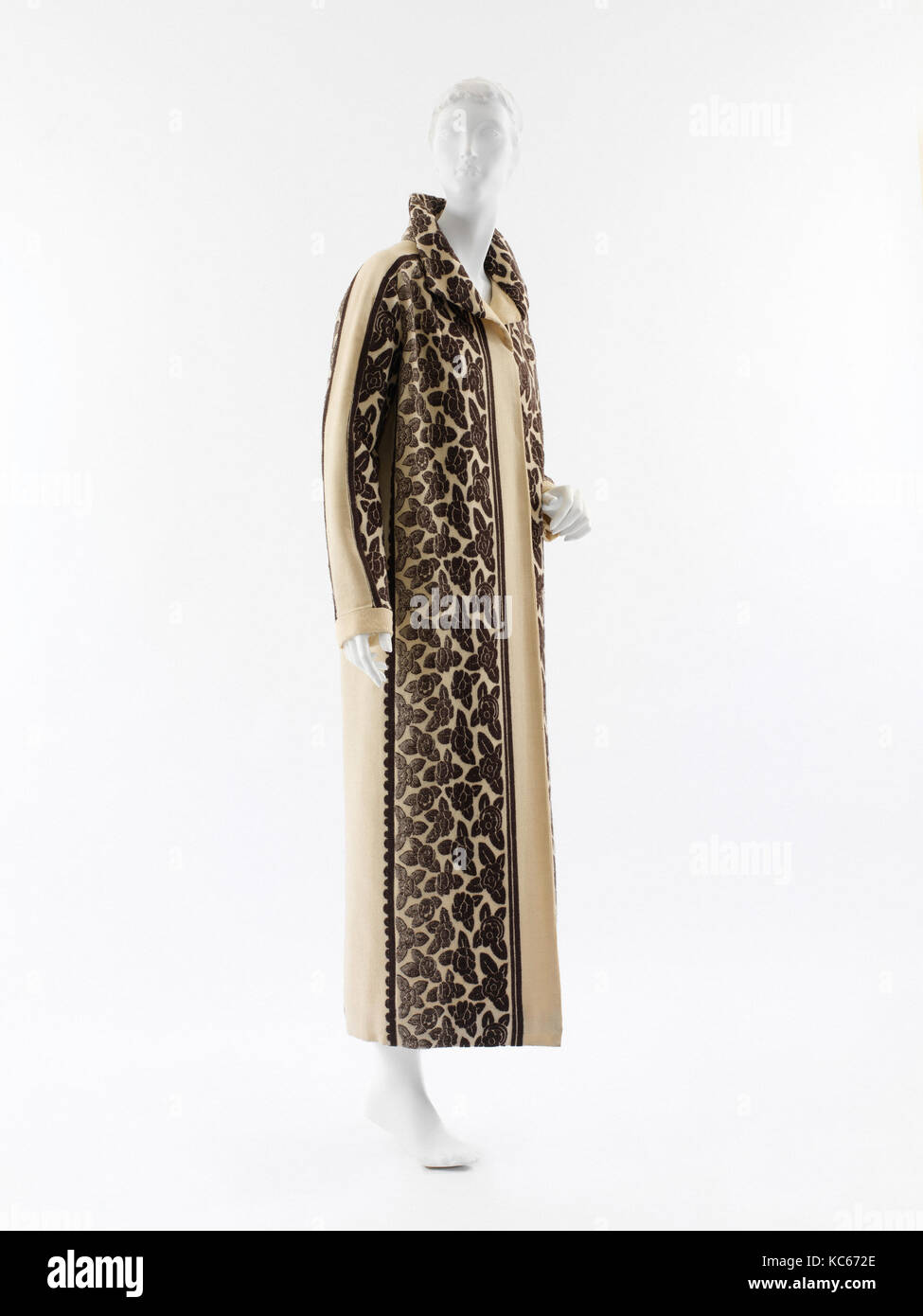 Coat, 1923, French, wool, A complicated piecing of two different but related textiles emphasizes the straight lines - Stock Image