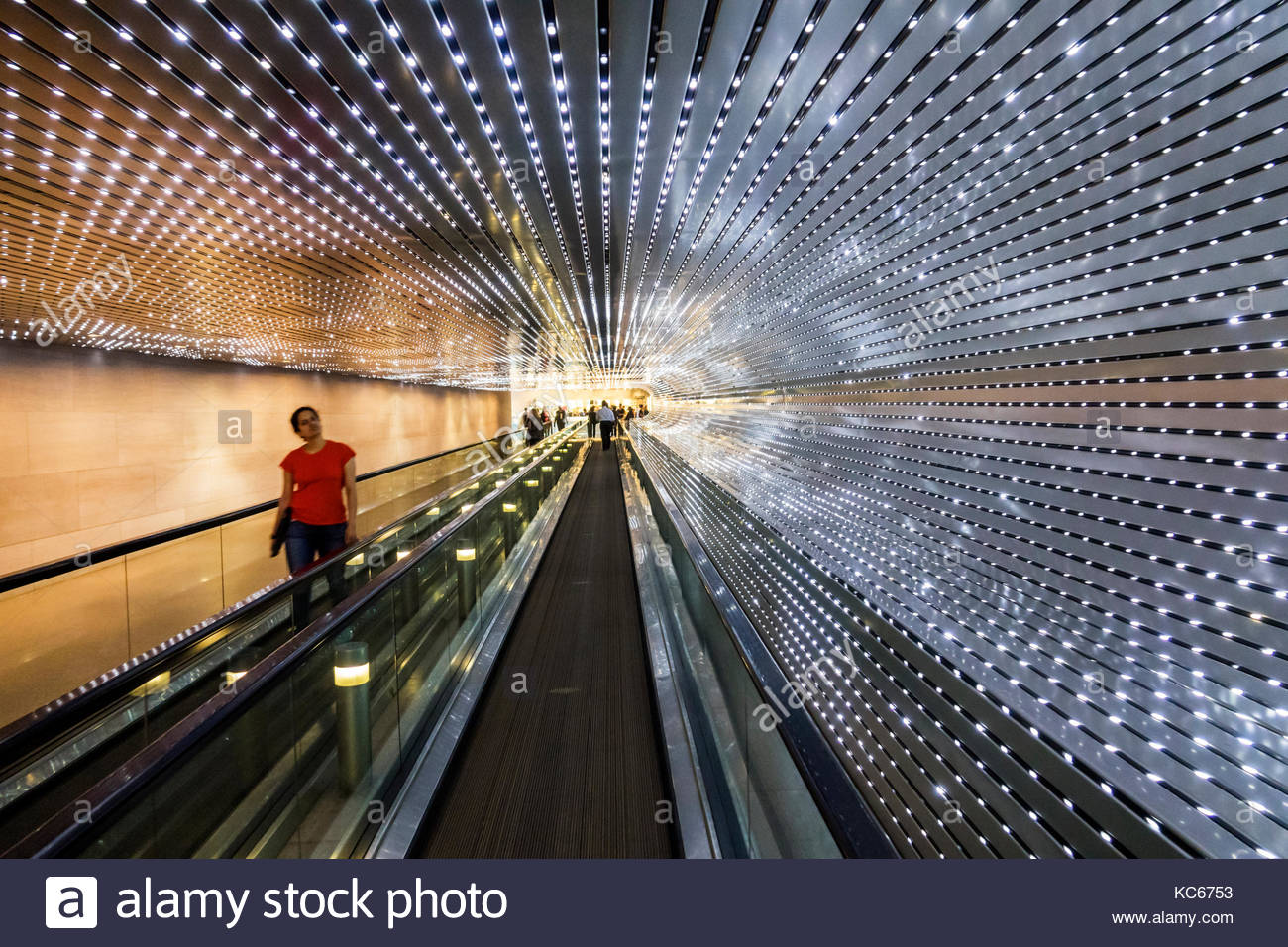 Washington DC District of Columbia National Gallery of Art museum Concourse underground walkway Multiverse light - Stock Image