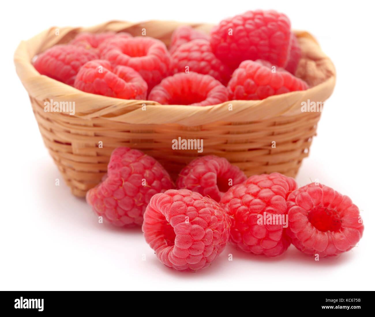 Fresh Raspberry over white background - Stock Image