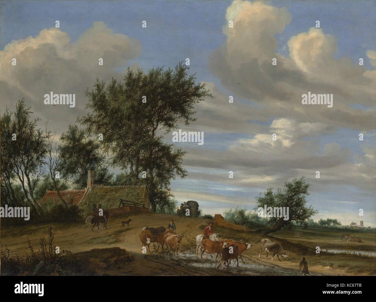 A Country Road, 1648, Oil on canvas, 38 7/8 x 52 7/8 in. (98.7 x 134.3 cm), Paintings, Salomon van Ruysdael (Dutch, Stock Photo