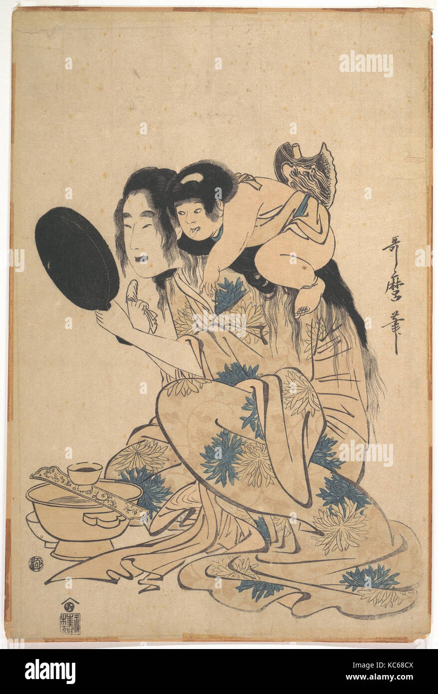 Yamauba blackening Her teeth and Kintoki, Kitagawa Utamaro, ca. 1795 - Stock Image
