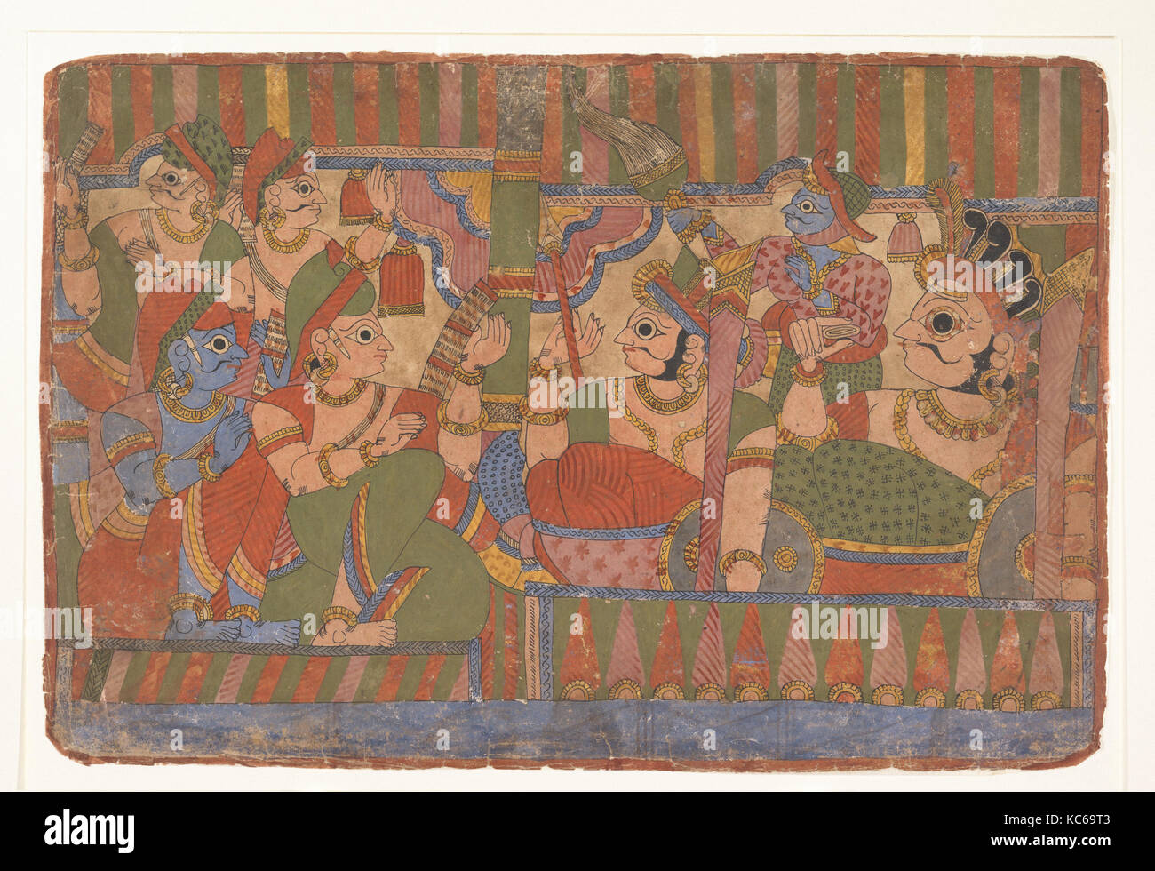 Council of Heroes:  Page from a Dispersed Mahabharata (Great Descendants of Mahabharata), ca. 1800 - Stock Image