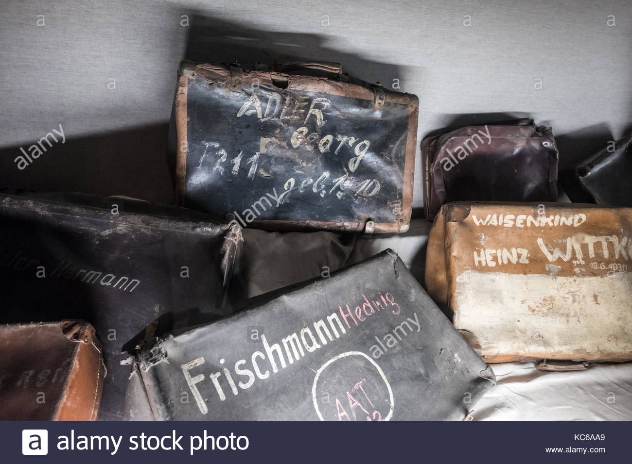 Luggage suitcase of the deported Jews in Auschwitz - Stock Image