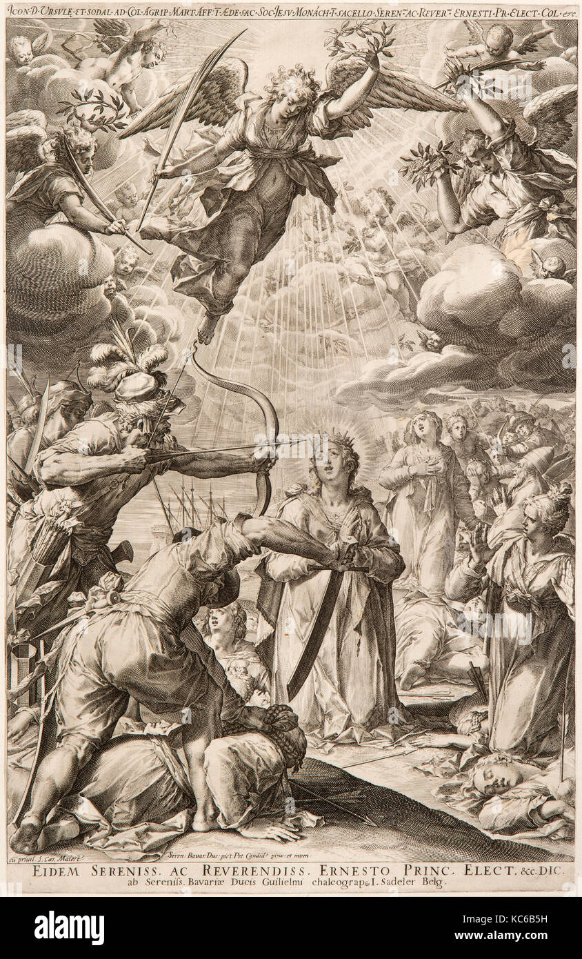Drawings and Prints, The Martyrdom of Saint Ursula and Her Companions, Printmaker, Designer, Johann Sadeler I, Peter - Stock Image