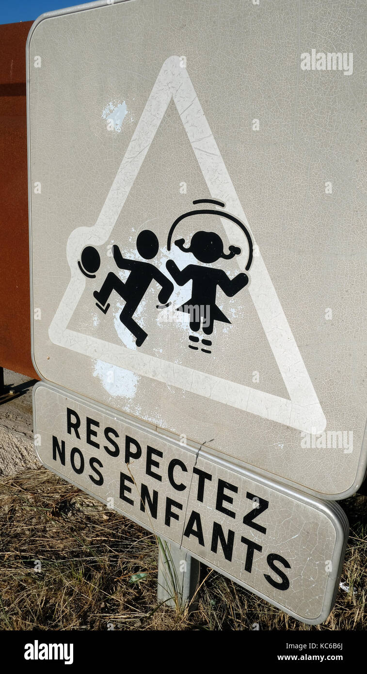 Respect our Children sign in Provence, France - Stock Image