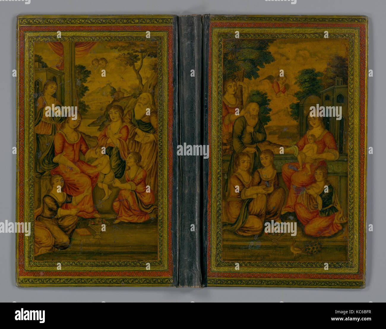 Bookcover with Christian Themes, mid-19th century, Attributed to Iran, Pasteboard; painted and lacquered, H. 11 - Stock Image