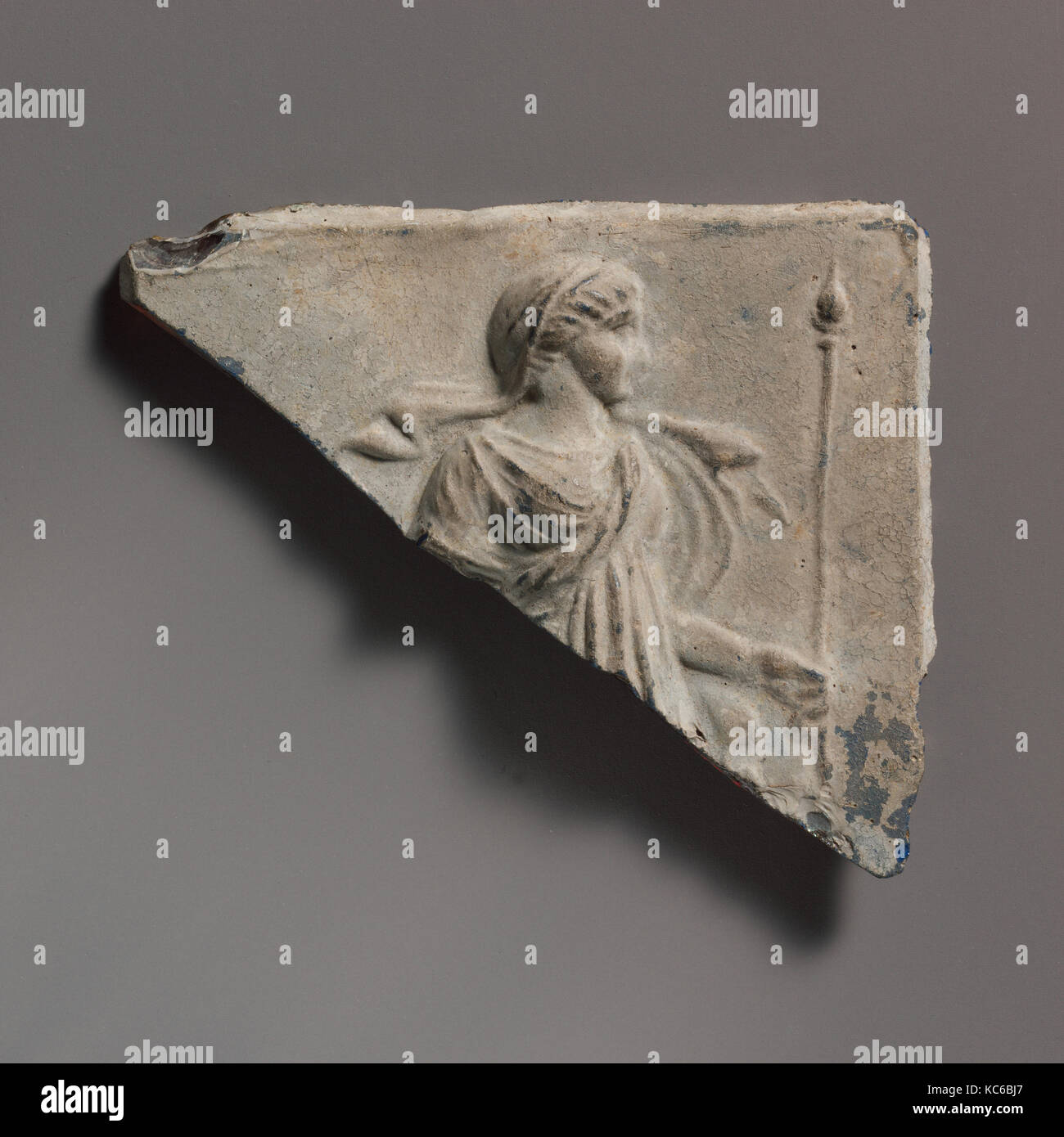 Glass plaque fragment, Early Imperial, 1st century A.D., Roman, Glass; cast in an open mold in two layers, Overall: Stock Photo
