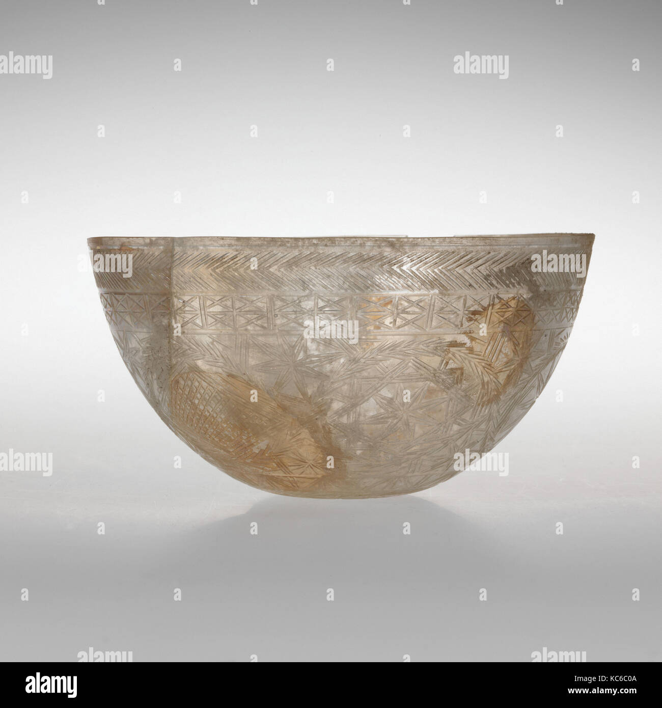 Glass bowl decorated with geometric patterns, 4th century A.D Stock Photo