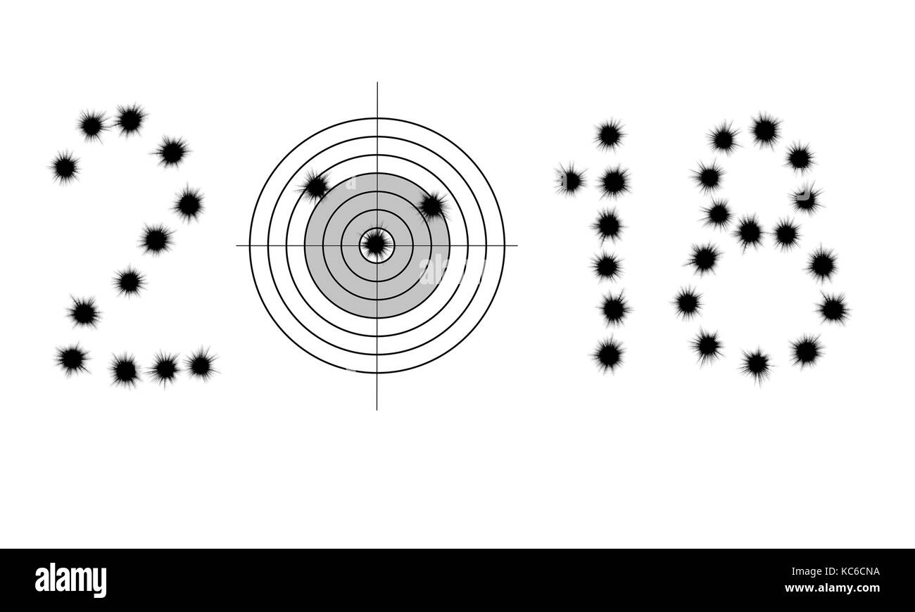 Bullet holes and target in shape of 2018 isolated on white - Stock Image