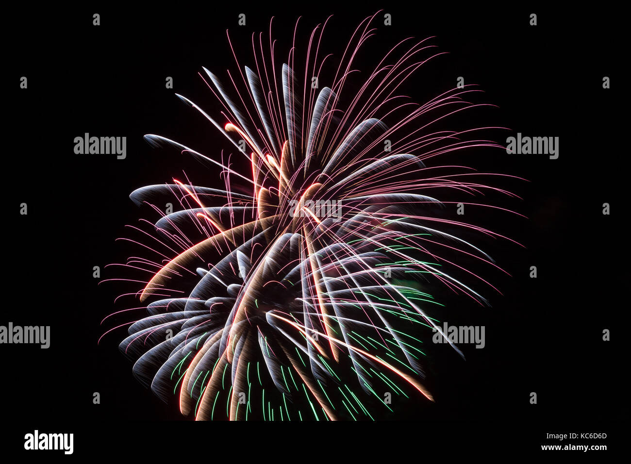 bright fiery fireworks pyrotechnic display in a nigh sky for new year independence day guy fawkes holiday carnival or festival themes with copy s