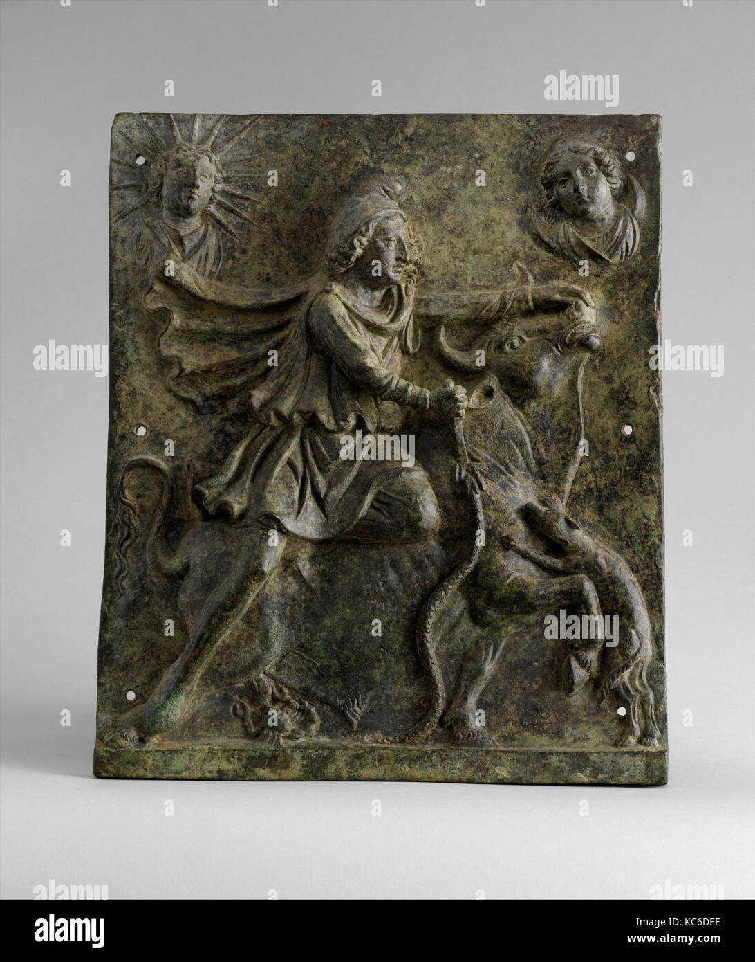 Bronze plaque of Mithras slaying the bull, mid-2nd–early 3rd century A.D - Stock Image