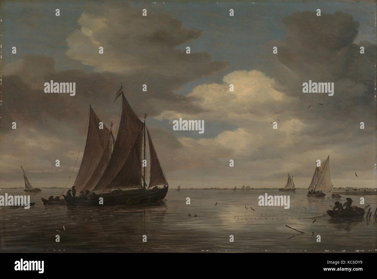 Fishing Boats on a River, Salomon van Ruysdael, early 1660s Stock Photo