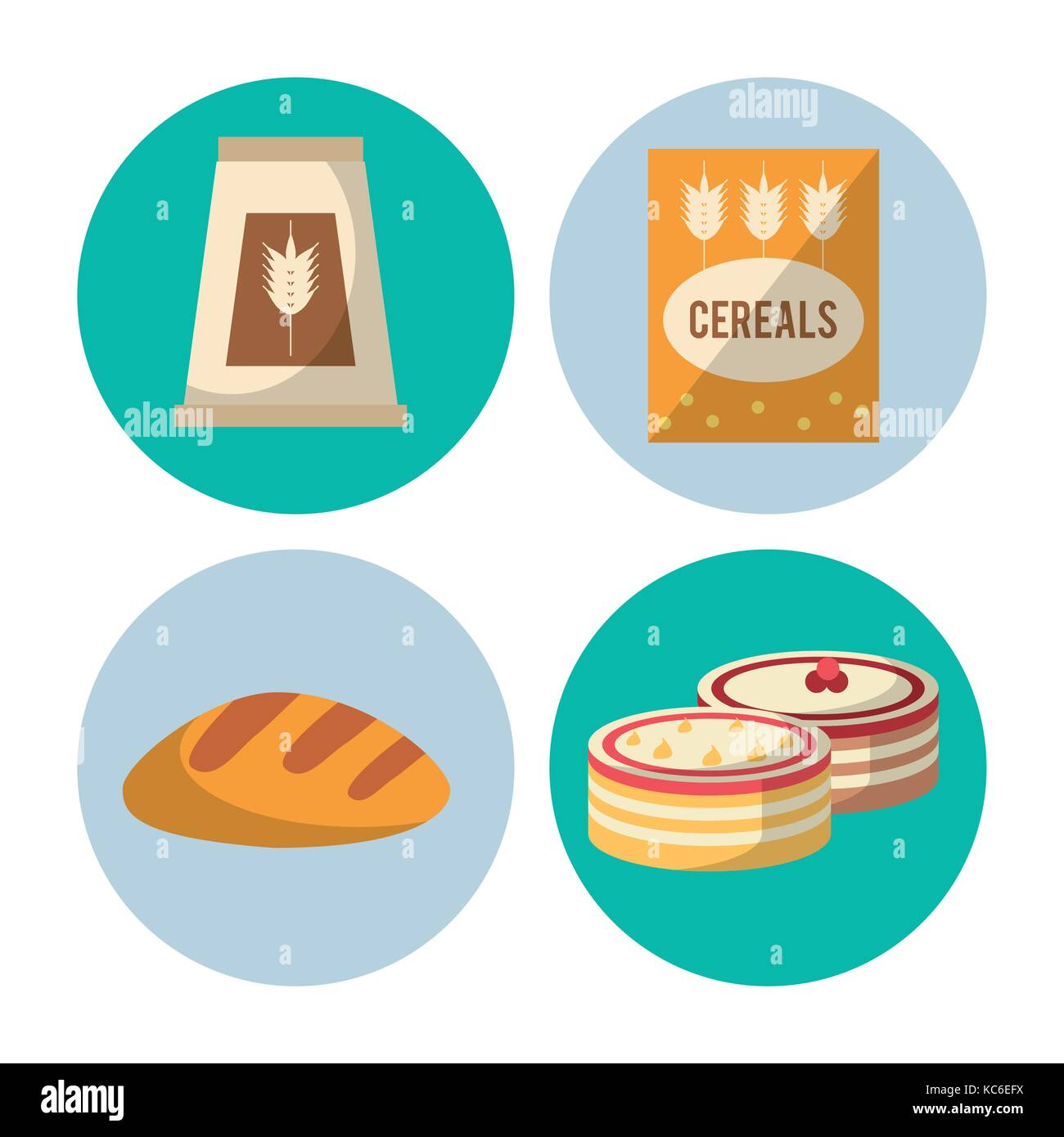 Carbohydrates food icons - Stock Image